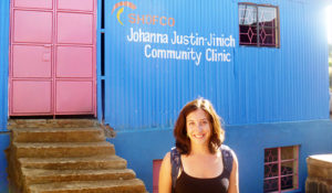 Jessica Posner at new health center, Kenya