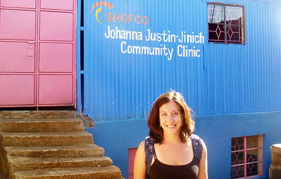 Jessica Posner at new health center, Kenya