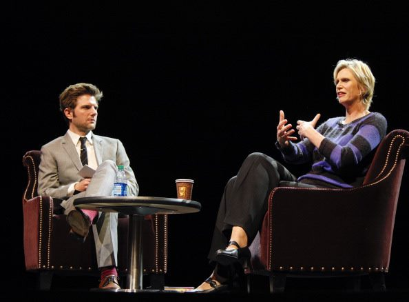 Adam scott and Jane Lynch at LiveTalks