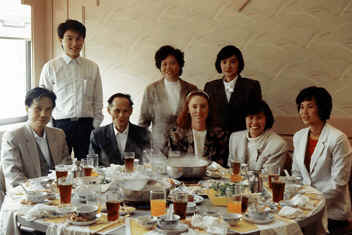 "Lisa See in Dimtao, China, with people she interviewed for her family history ""On Gold Mountain"""