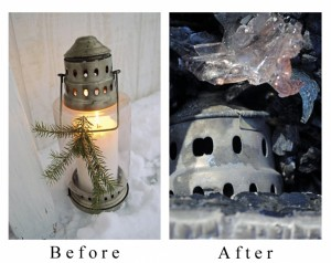 Sandy Foster's Lanterns before and after fire