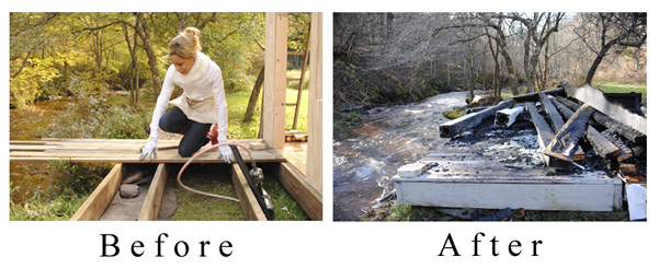 Sandy Foster Before and After Fire of Porch