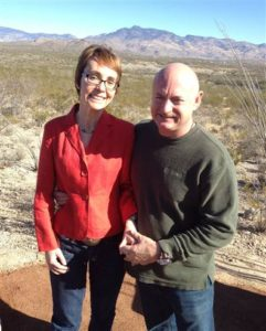 Gabby Gifford and Mark Kelly at Gabe Zimmerman Memorial Trail, Tucson, Jan 2012