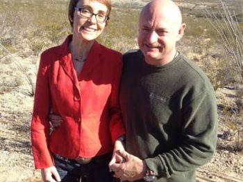 Gabby Gifford and Mark Kelly at Gabe Zimmerman Memorial Trail, Tucson, Jan 2012