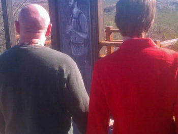 Rep. Giffords and Mark Kelly at Gabe Zimmerman Trail Head, Jan 8, 2012