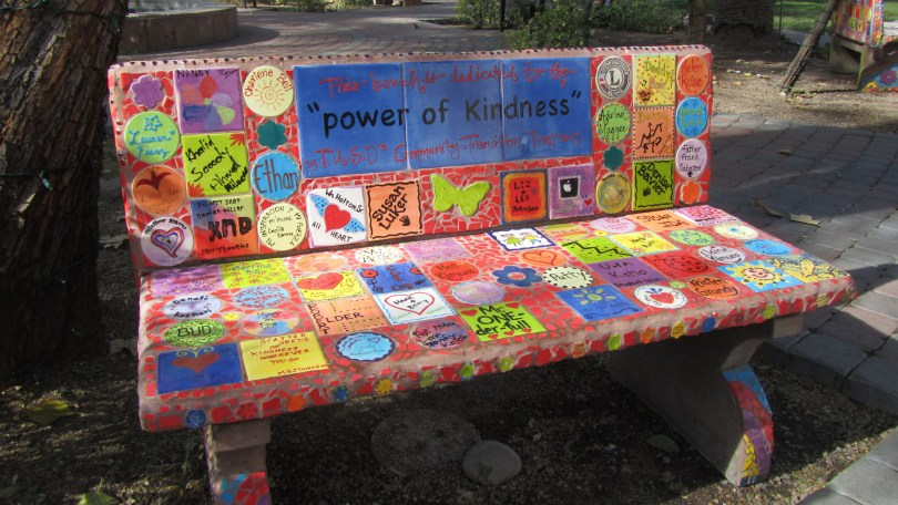 "Kindness Bench outside of ""Ben's Bells"" Tucson: Photo--Pamela Burke"