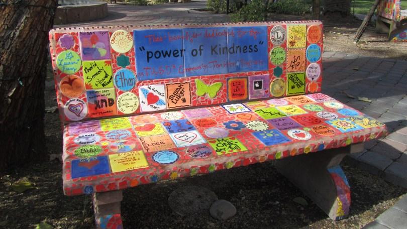 "Kindness Bench outside of ""Ben's Bells"" Tucson: Photo--Pamela Burke"