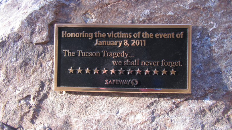 The placque at Safeway Tucson honorin victims: Photo--Pamela Burke