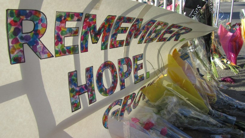Tucson Safeway's new memorial was erected 1/10/12: Photo: Pamela Burke