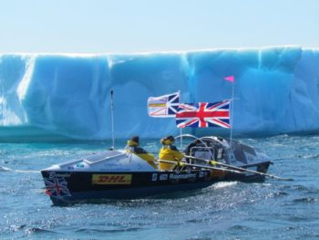 Roz Savage past the iceberg in Tapper's Cove | Photo from Roz Savage site