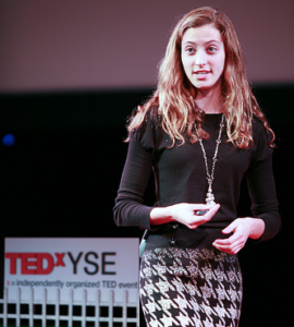 Talia Leman speaking at TEDxYSE Conference for TWE Radio