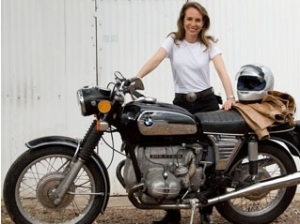 Gabby Giffords on motorcycle