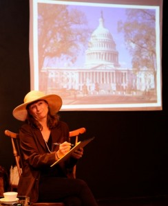 "Amy Simon as Bella Abzug during her one-woman play, ""She's History"""