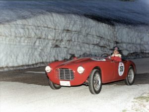 Sylvia Oberti battling the elements in 2002 Mille Miglia Race: Photo from Sylvia