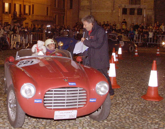 Silvia Oberti greeted by fans along the route of the Mille Miglia race-2012