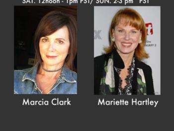 Marcia Clark and Mariette Hartley, guests on TWE Radio Encore Show