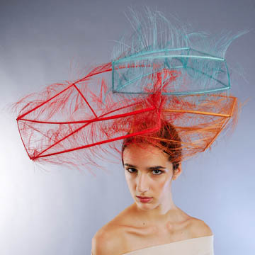 "Noel Stewart's ""Stacked Feather Cube"" hat/2009--©Morgan O'Donovan"