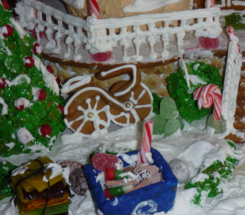 Closeup of the bicycle and recycle bin on Laura Morrissette's winning eco-friendly gingerbread house