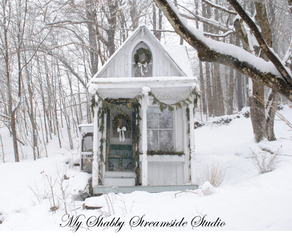 Sandy Foster's Shabby Streamside Studio decorated for the holidays