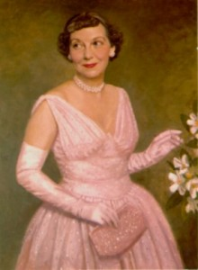 Mamie Eisenhower painting in her pink inauguration dress