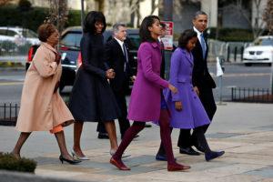 The Obama family on Inauguration Day/Luke Sharrett, NY Times