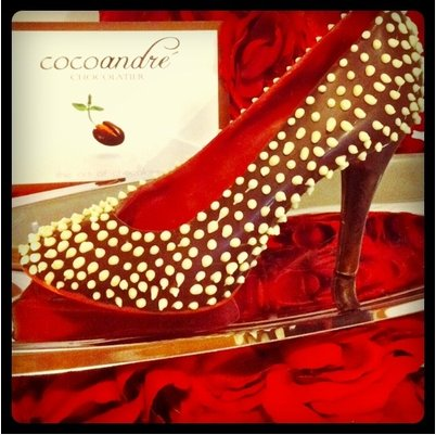 Chocolate High Heels for Valentine's Day by Andrea Padraza, Dallas chocolatier at CocoAndre