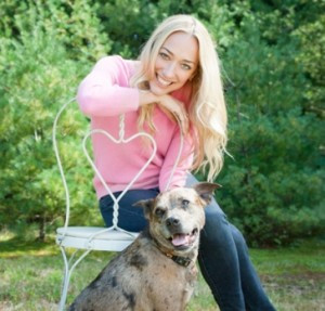 "Kris Carr, author of ""Crazy Sexy Kitchen"" and her dog"