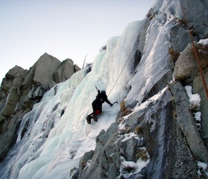 Cindy Abbott ice climbing in Lee Vining/Photo: Doug Nidevers