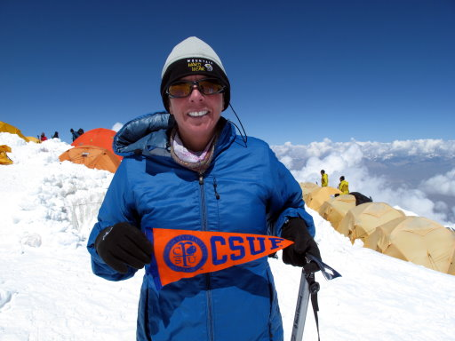 Cindy Abbott at Camp 3 Climbing Everest 20,100/Photo: Scott Woolums