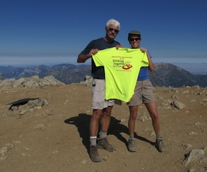 Cindy and husband, Larry, on Mt. Baldy summit with 2010 Vascultis T-Shirt