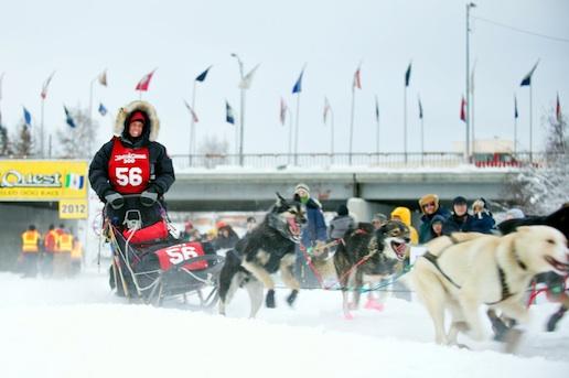 Cindy Abbott starting the Yukon Quest 300 mile race/Photo: Jan DeNapoli