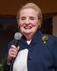 Madeleine Albright speaking at Dominican University Leadership Lecture Series