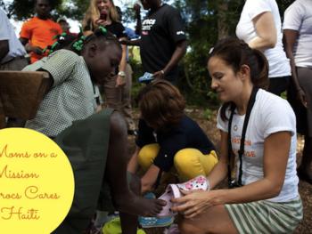 "Moms, Crocs and ""Ladies Home Journal"" bring new crocs to needy children of Haiti"