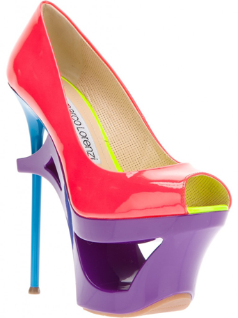 Gianmarco Lorenzi Sculpted Platform Pump in Patent Leather