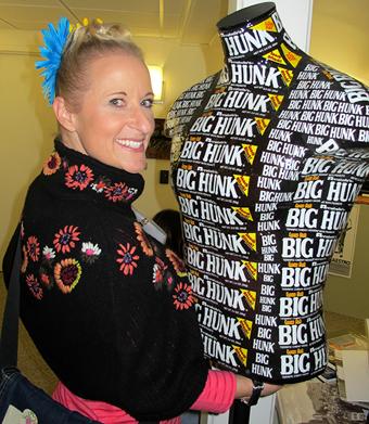 Charlotte Kruk, wearable art sculptor with Big Hunk/Photo: Harrod Blank