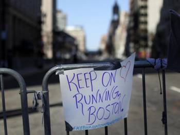 Keep on Running Boston sign from Boston Globe/Photo: Bill Green