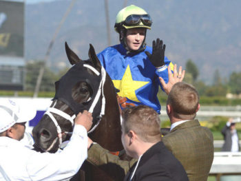 Rosie Napravnik celebrates victory with Shanghai Bobby at Santa Anita/fall, 2012