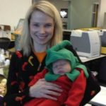 Marissa Mayer, head of Yahoo, with her baby