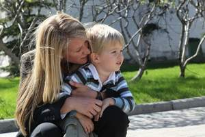 Karen Nyberg, astronaut visiting International Space Station and son