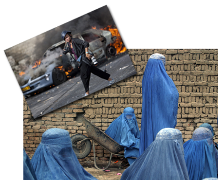 Heidi Levine (inset: Credit: Warrick Page) with her photo of four women in burkas | Photo: Heidi Levine