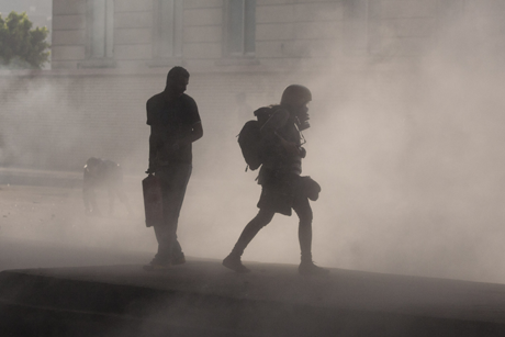 Heidi Levine in tear gas equipment: Cairo, January 27, 2011 | Credit Maya Levin