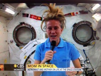 Karen Nyberg at International Space Station/CBS Screenshot