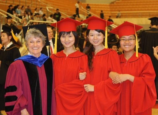 Jerrie Euberle, founder of World Academy for the Future of Women with recent women graduates