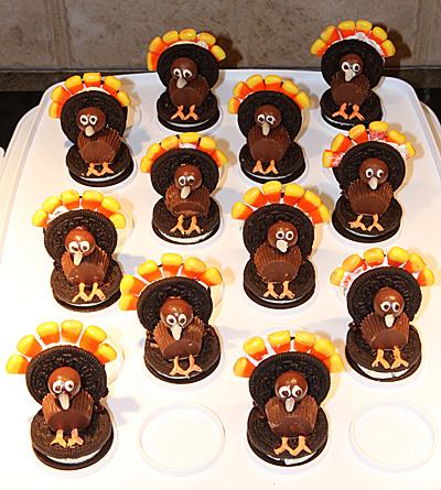 A Rafter of Thanksgiving Oreo Turkeys
