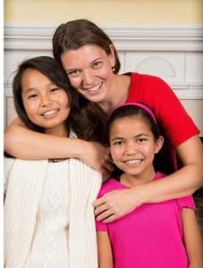 Maggie Doyne,Kopila Valley Children's Home, with Nisha and Kabita