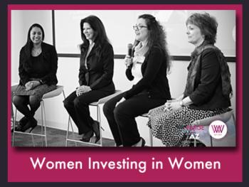 "Women Investing In Women Global Summit ""Women Entrepreneurs"" panel with moderator/founder Anu Bhardwaj (L), Debbie Gaby, Jennifer Mannino, and Nancy Sanders"