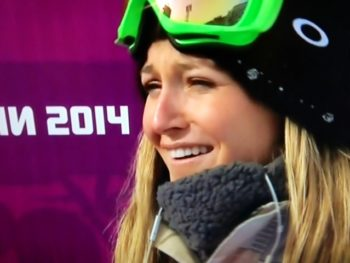 Jamie Anderson--snowboarder who wins gold for USA at Olympics--NBC Screenshotg