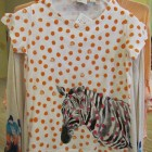 Peach top with polka dots and zebra/Anthropologie 3/14
