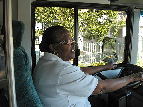 Estella Pyfrom driving the Brilliant Bus