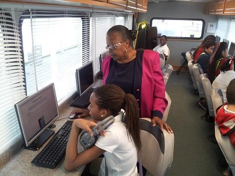 Estella Pyfrom in her Brilliant Bus